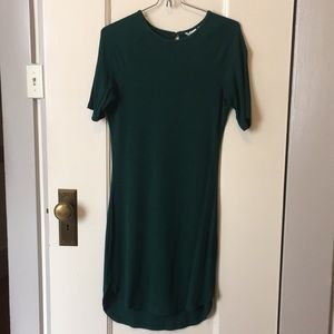 Forest green ribbed mini dress 🌲